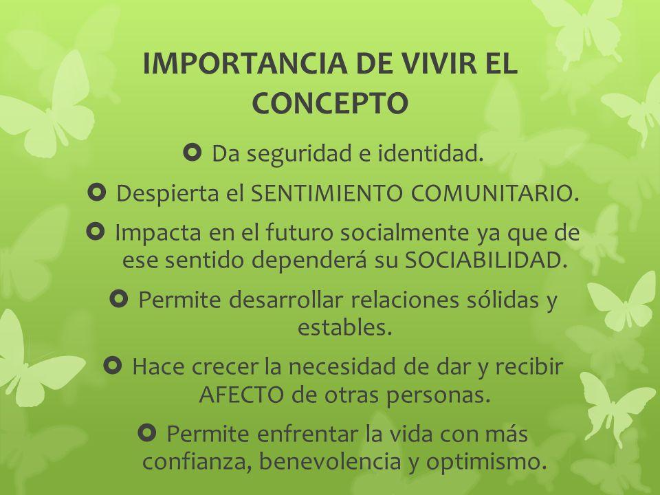 IMPORTANCIA DE VIVIR EL CONCEPTO