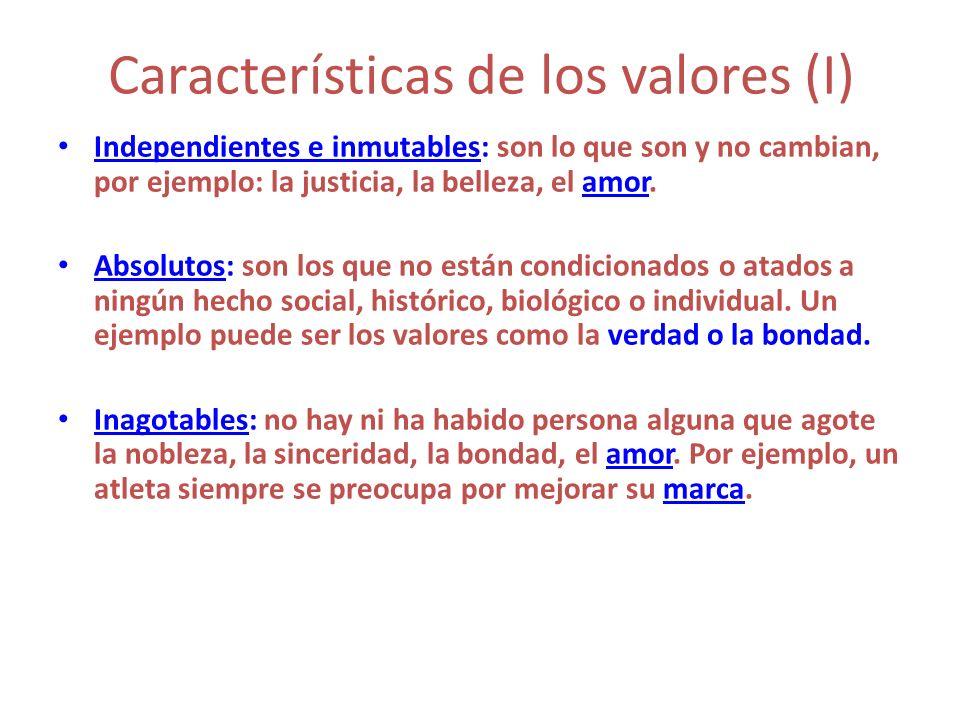 Características de los valores (I)