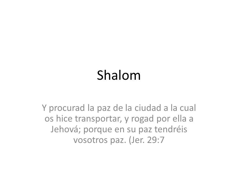 Shalom Y procurad la paz de la ciudad a la cual os hice transportar, y rogad por ella a Jehová; porque en su paz tendréis vosotros paz.