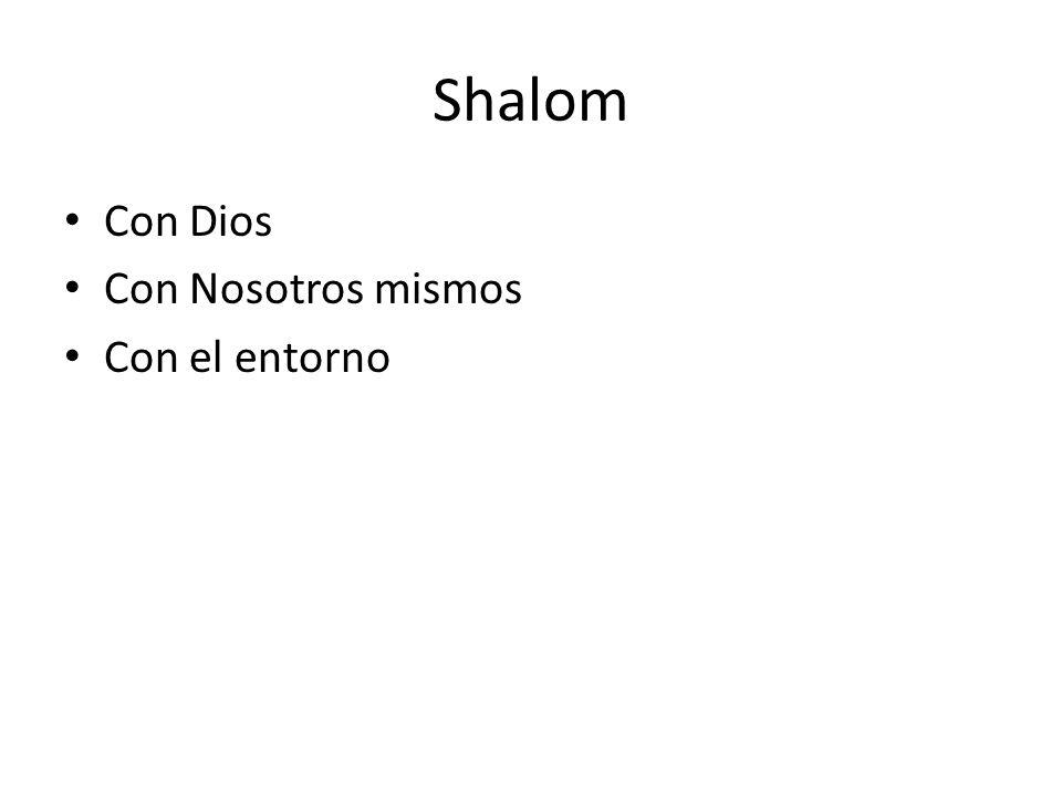 Shalom Con Dios Con Nosotros mismos Con el entorno