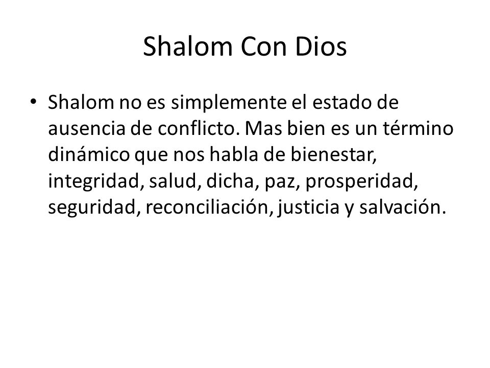 Shalom Con Dios
