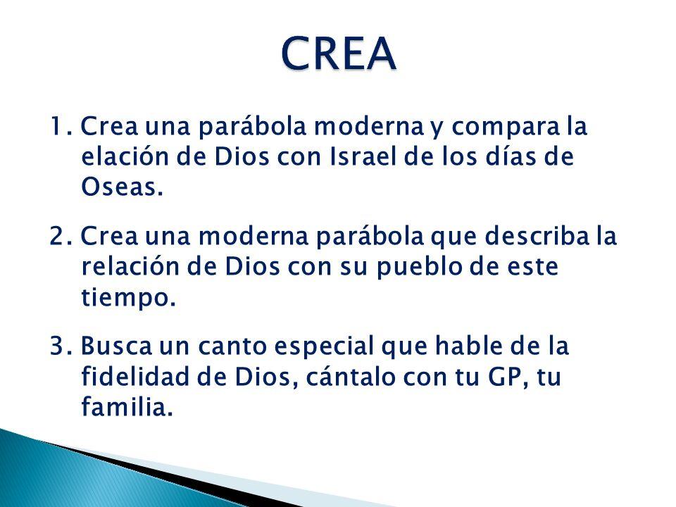 CREA 1. Crea una parábola moderna y compara la elación de Dios con Israel de los días de Oseas.