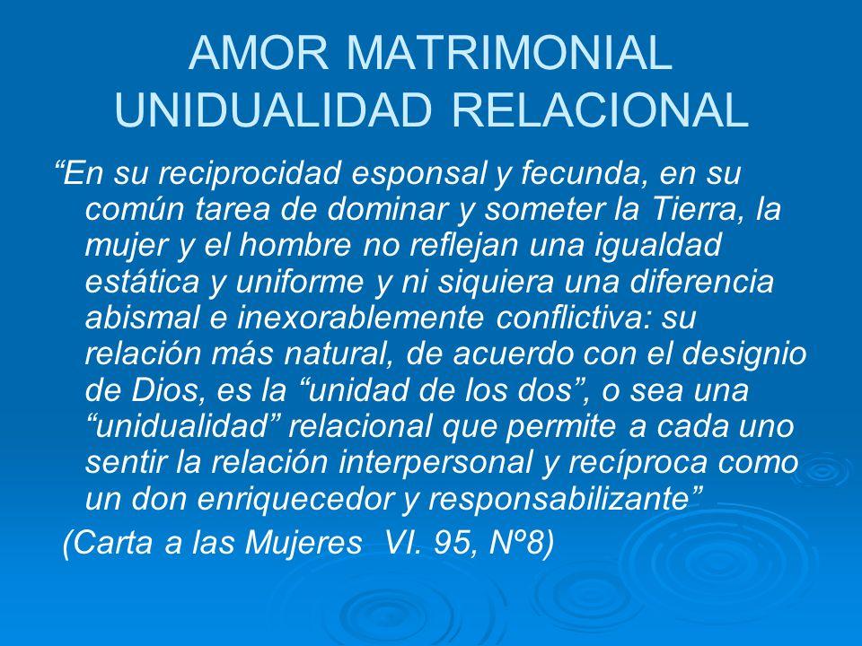 AMOR MATRIMONIAL UNIDUALIDAD RELACIONAL