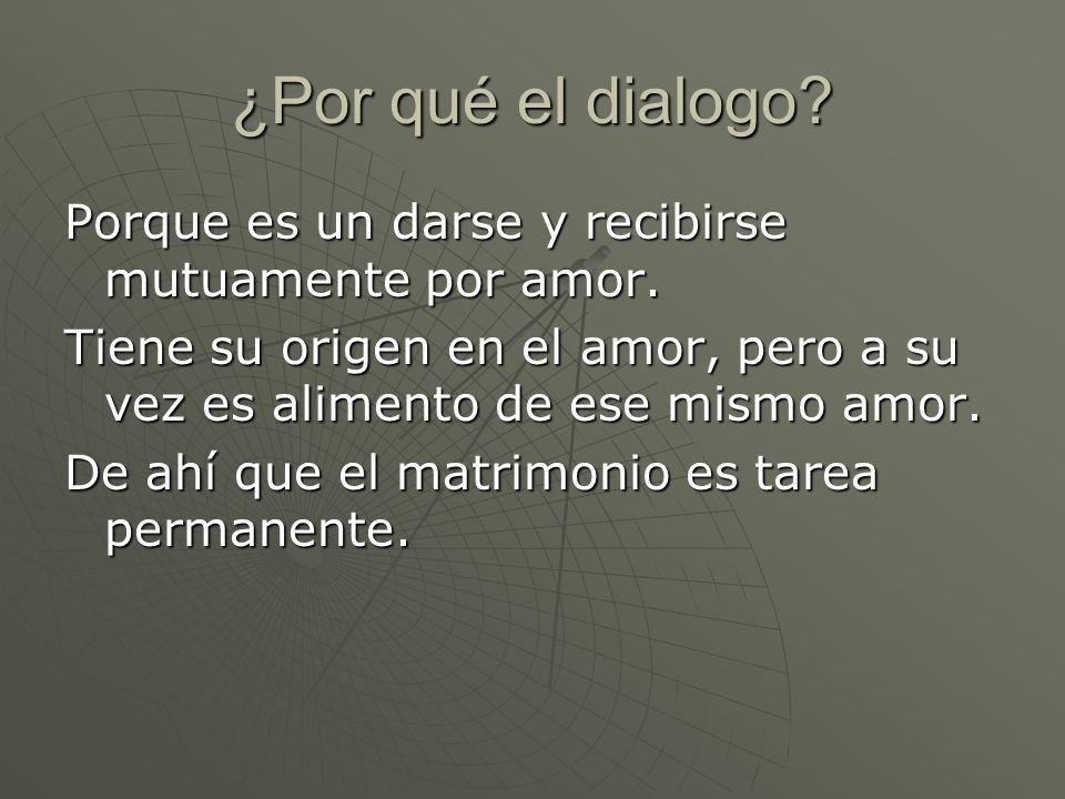 ¿Por qué el dialogo Porque es un darse y recibirse mutuamente por amor. Tiene su origen en el amor, pero a su vez es alimento de ese mismo amor.