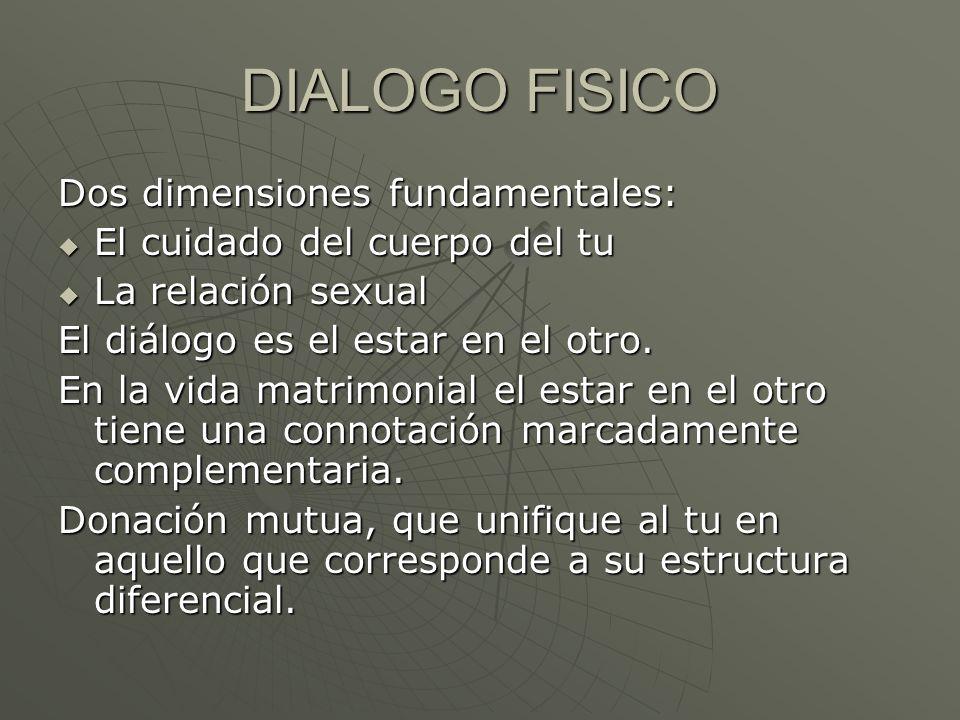 DIALOGO FISICO Dos dimensiones fundamentales: