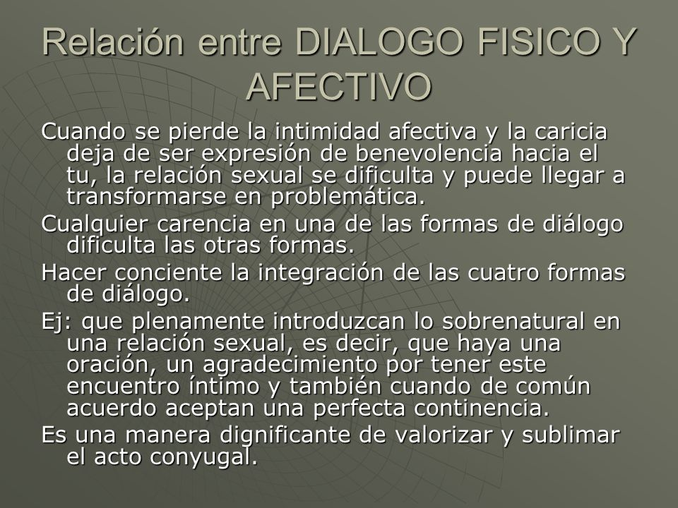 Relación entre DIALOGO FISICO Y AFECTIVO