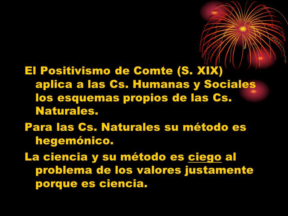 El Positivismo de Comte (S. XIX) aplica a las Cs