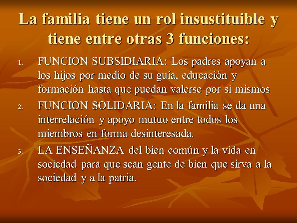 La familia tiene un rol insustituible y tiene entre otras 3 funciones:
