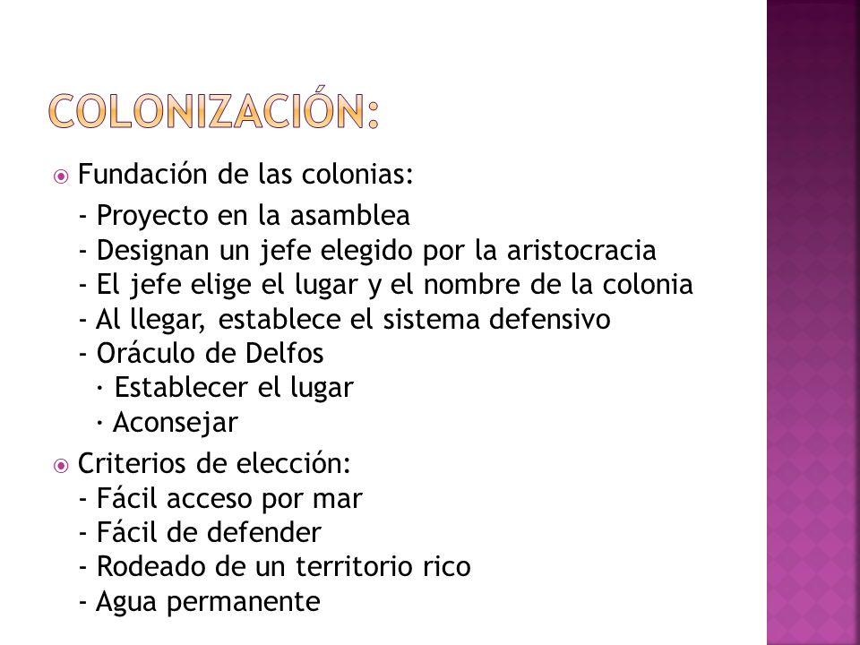 COLONIZACIÓN: Fundación de las colonias: