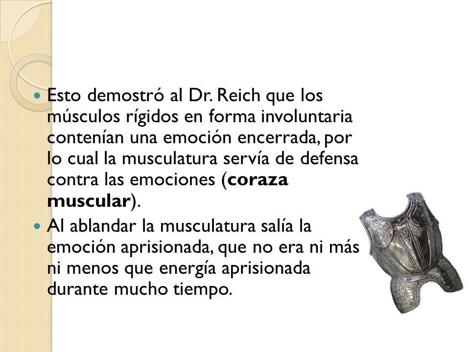Esto demostró al Dr. Reich que los músculos rígidos en forma involuntaria contenían una emoción encerrada, por lo cual la musculatura servía de defensa contra las emociones (coraza muscular).