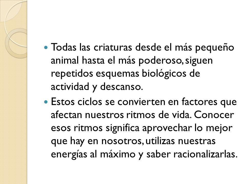 Todas las criaturas desde el más pequeño animal hasta el más poderoso, siguen repetidos esquemas biológicos de actividad y descanso.