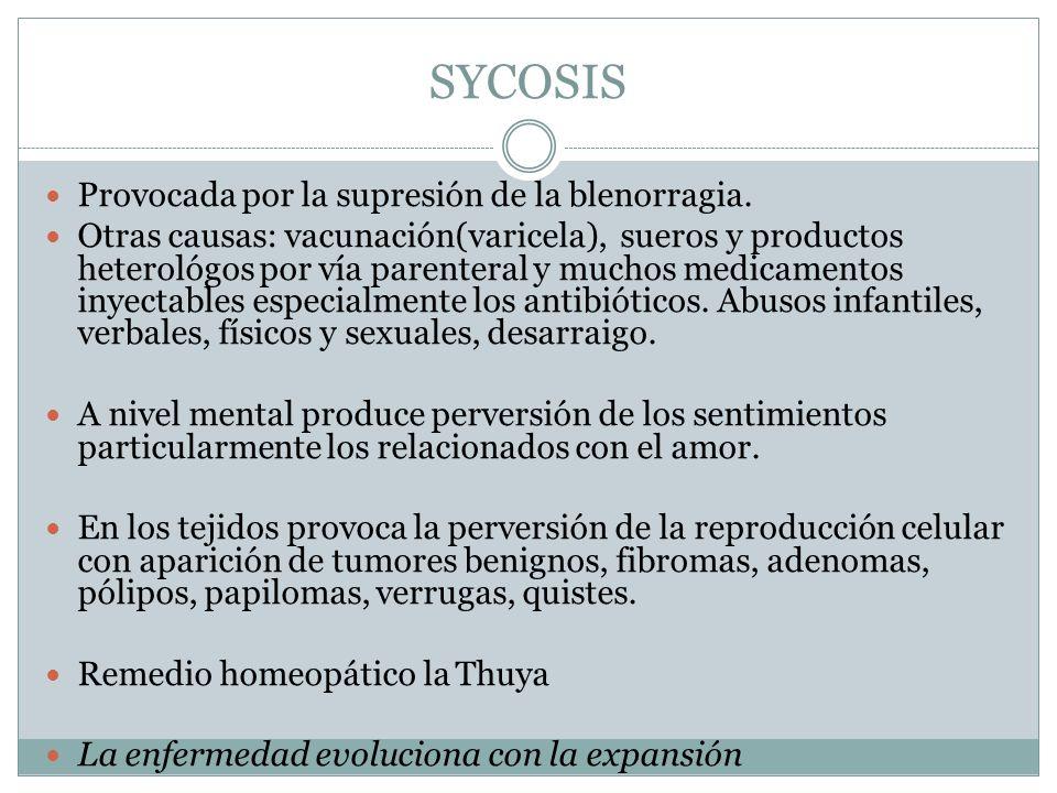 SYCOSIS Provocada por la supresión de la blenorragia.