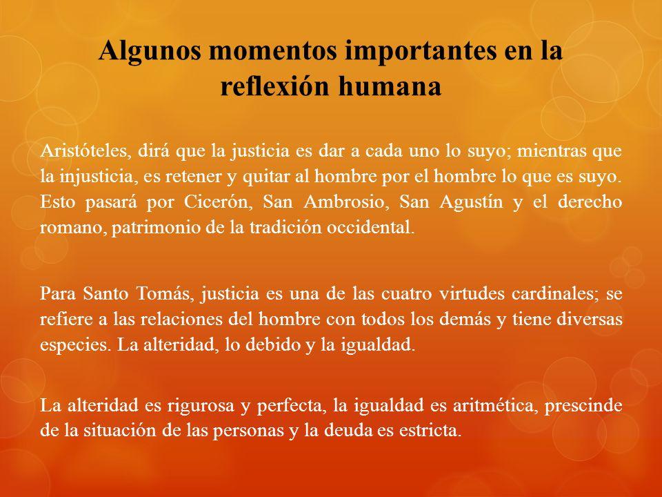 Algunos momentos importantes en la reflexión humana