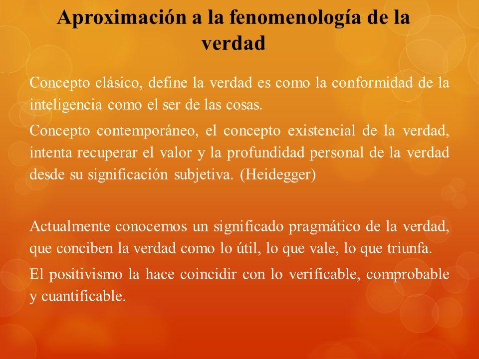 Aproximación a la fenomenología de la verdad