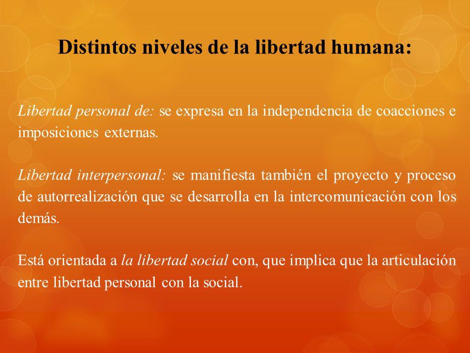 Distintos niveles de la libertad humana: