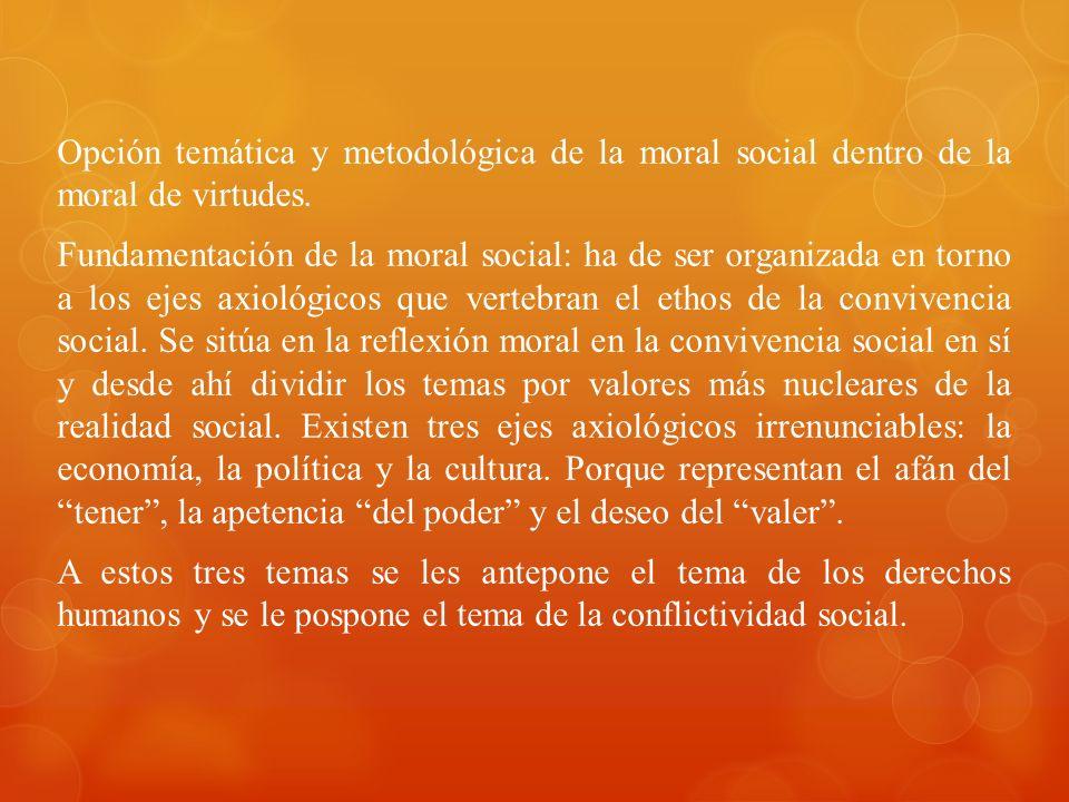 Opción temática y metodológica de la moral social dentro de la moral de virtudes.