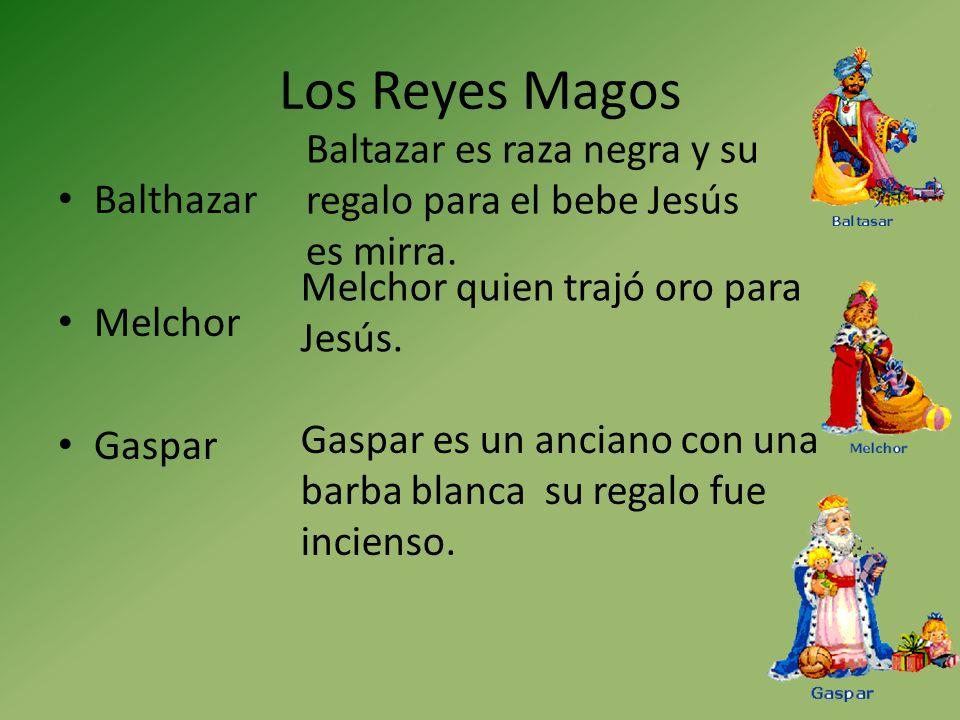 Los Reyes Magos Baltazar es raza negra y su regalo para el bebe Jesús es mirra. Balthazar. Melchor.