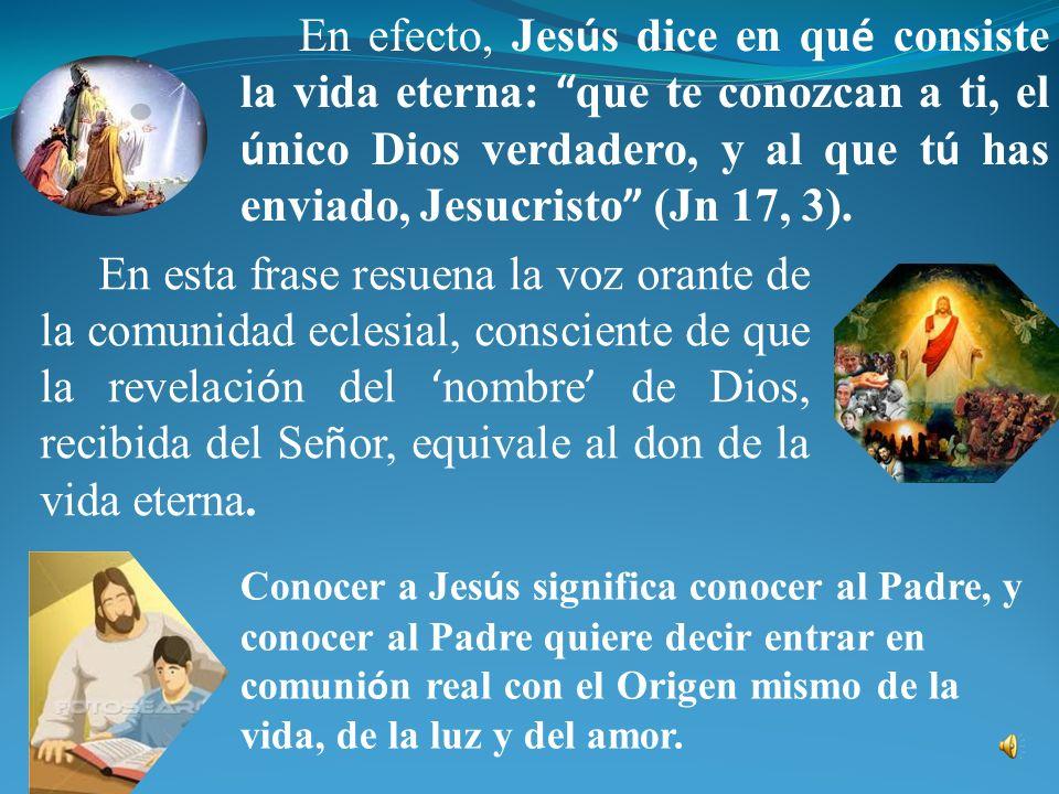 En efecto, Jesús dice en qué consiste la vida eterna: que te conozcan a ti, el único Dios verdadero, y al que tú has enviado, Jesucristo (Jn 17, 3).