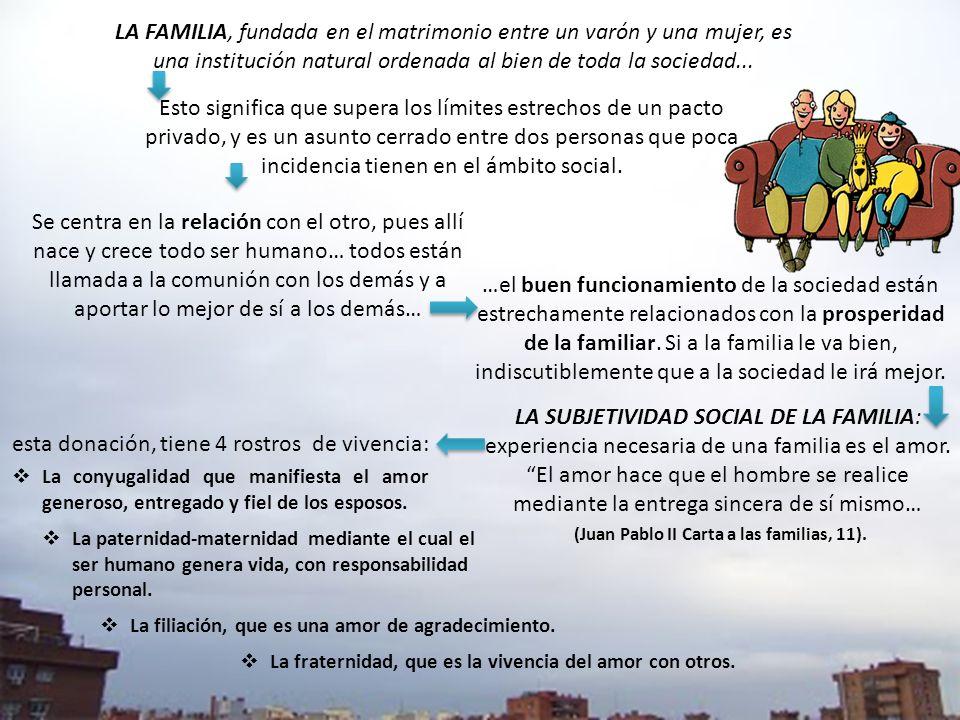 (Juan Pablo II Carta a las familias, 11).
