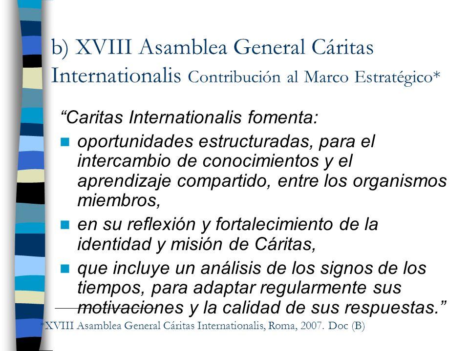 b) XVIII Asamblea General Cáritas Internationalis Contribución al Marco Estratégico*