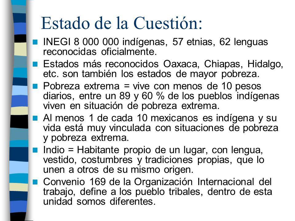 Estado de la Cuestión: INEGI 8 000 000 indígenas, 57 etnias, 62 lenguas reconocidas oficialmente.
