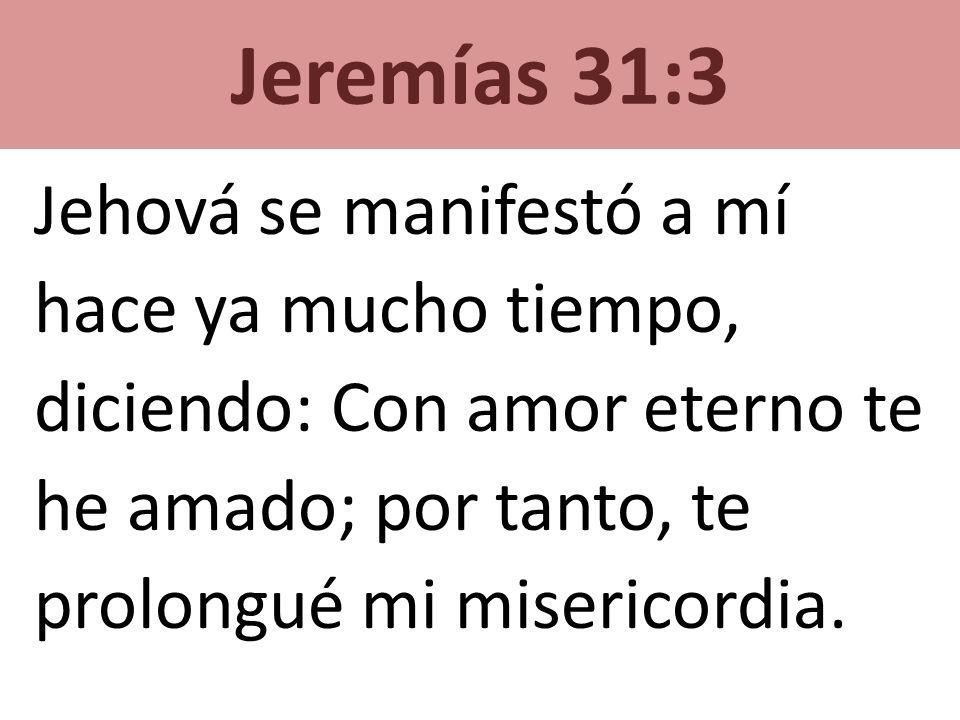 Jehová se manifestó a mí hace ya mucho tiempo,