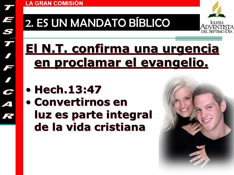 El N.T. confirma una urgencia en proclamar el evangelio. TESTIFICAR
