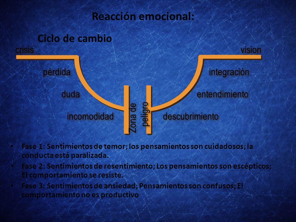 Reacción emocional: Ciclo de cambio crisis vision pérdida duda
