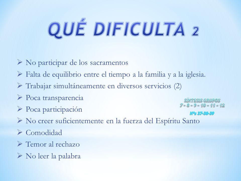 QUÉ DIFICULTA 2 No participar de los sacramentos