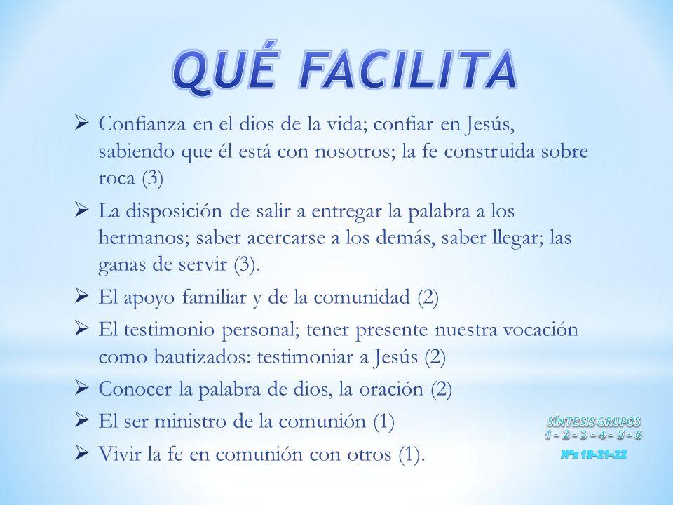 QUÉ FACILITA Confianza en el dios de la vida; confiar en Jesús, sabiendo que él está con nosotros; la fe construida sobre roca (3)