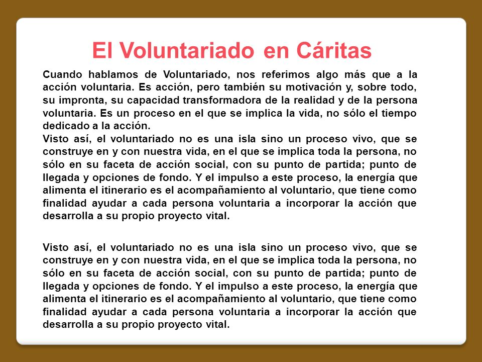 El Voluntariado en Cáritas