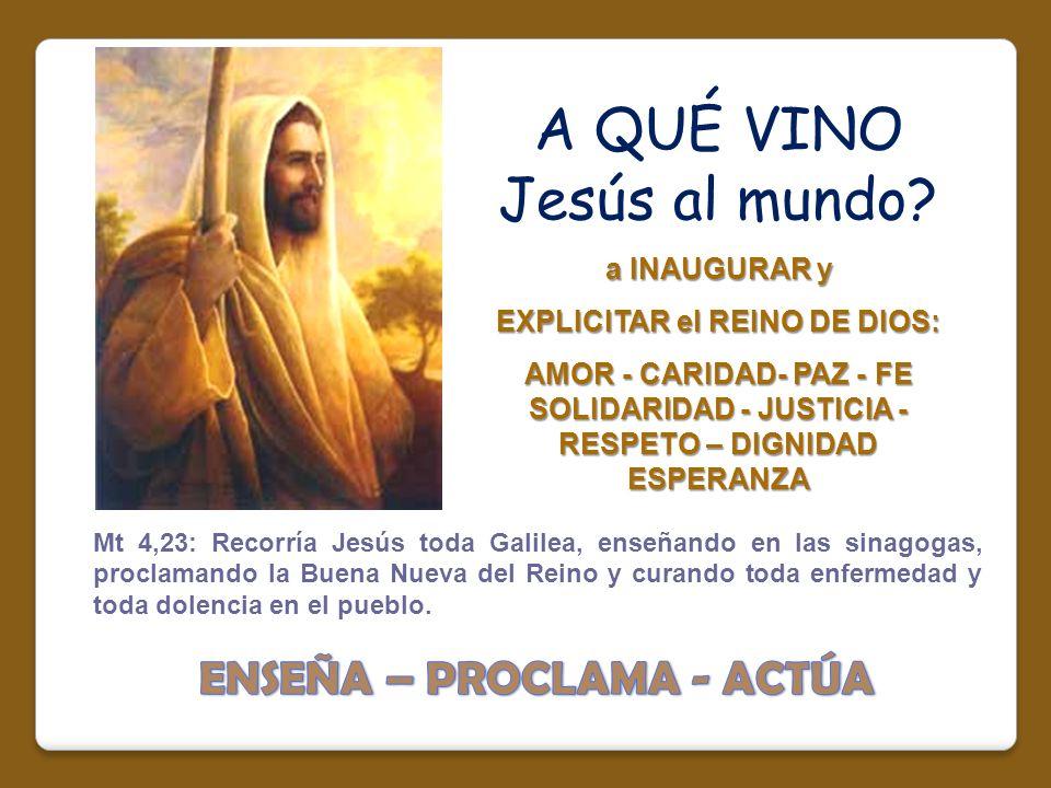 EXPLICITAR el REINO DE DIOS: ENSEÑA – PROCLAMA - ACTÚA