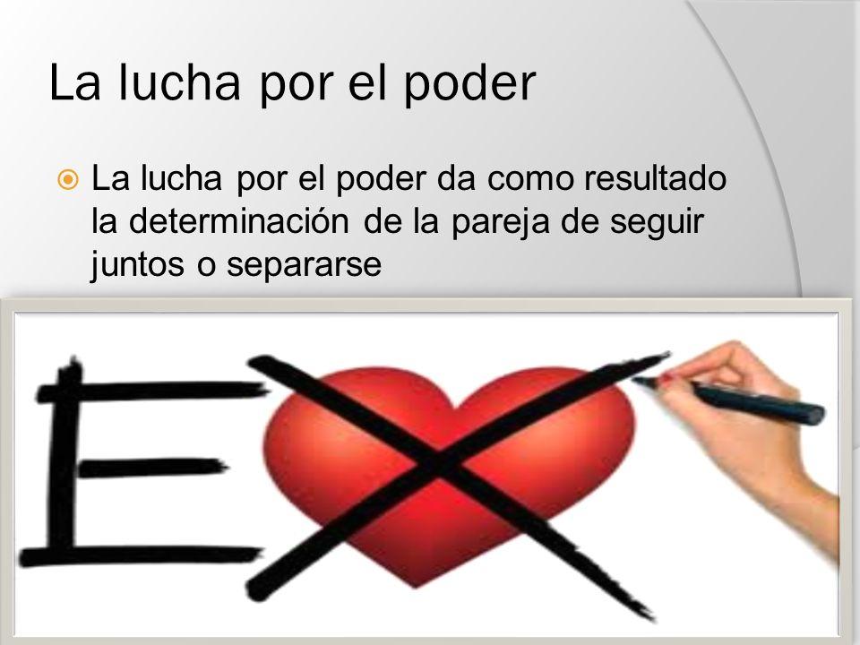 La lucha por el poder La lucha por el poder da como resultado la determinación de la pareja de seguir juntos o separarse.