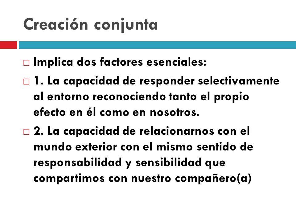 Creación conjunta Implica dos factores esenciales: