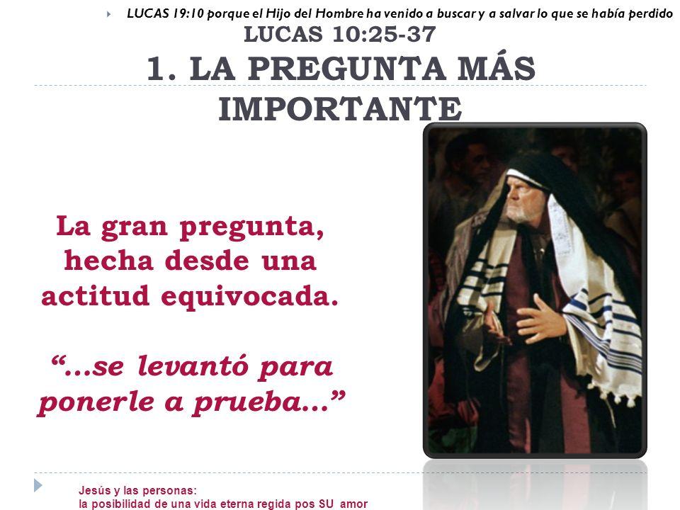 LUCAS 10:25-37 1. LA PREGUNTA MÁS IMPORTANTE