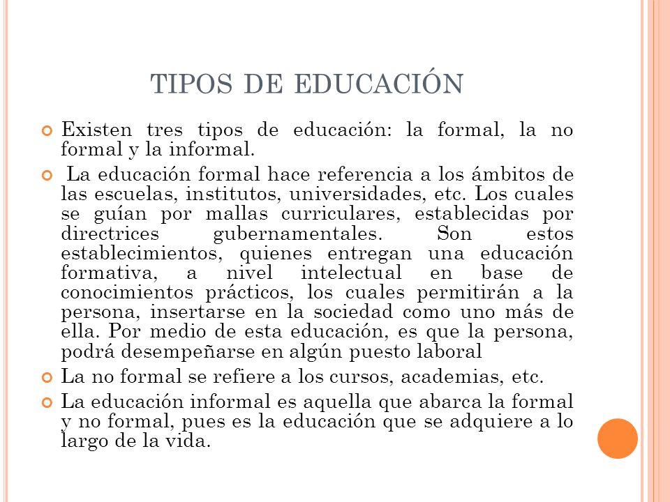tipos de educación Existen tres tipos de educación: la formal, la no formal y la informal.