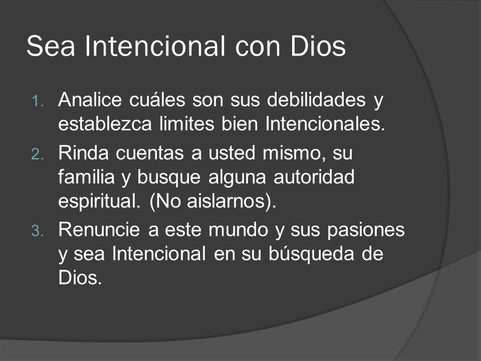 Sea Intencional con Dios