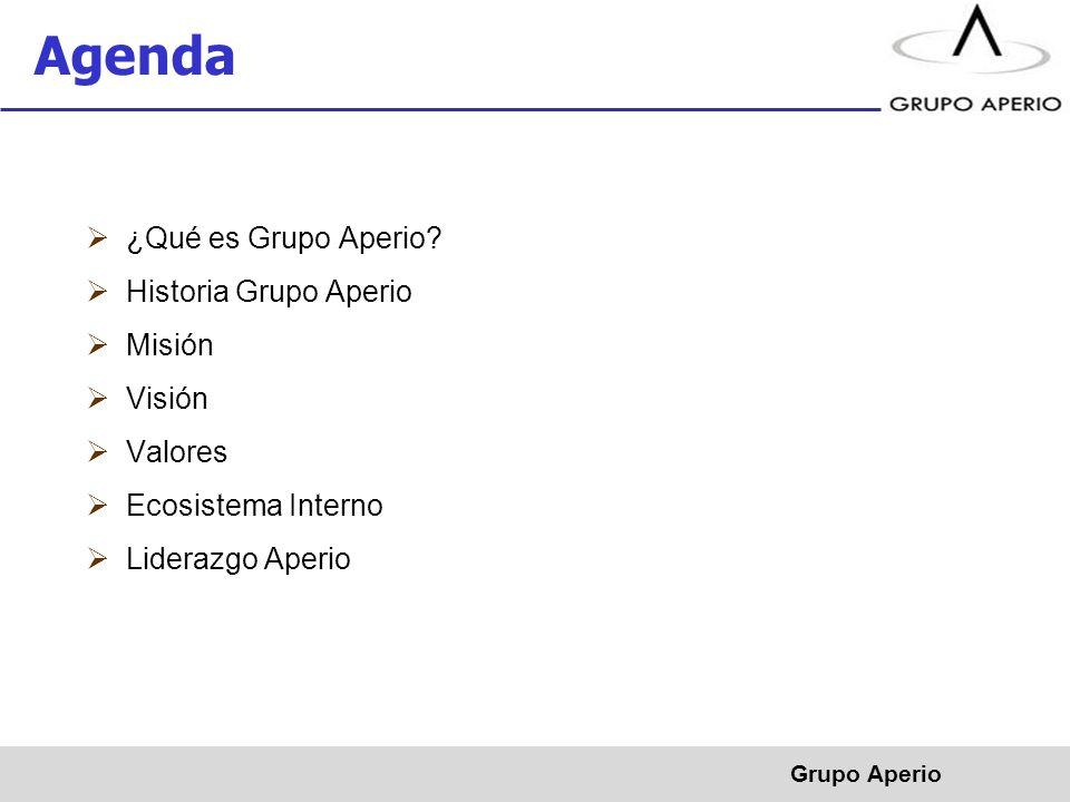 Agenda ¿Qué es Grupo Aperio Historia Grupo Aperio Misión Visión