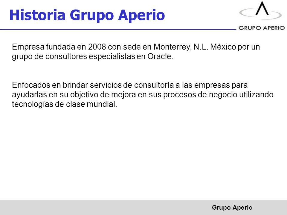 Historia Grupo Aperio Empresa fundada en 2008 con sede en Monterrey, N.L. México por un grupo de consultores especialistas en Oracle.