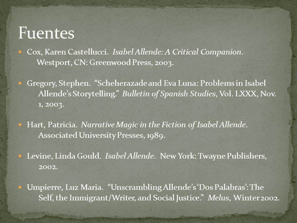 Fuentes Cox, Karen Castellucci. Isabel Allende: A Critical Companion.
