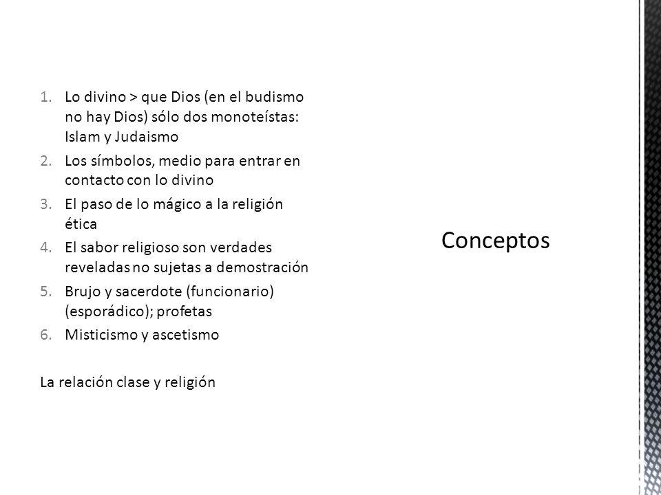 Lo divino > que Dios (en el budismo no hay Dios) sólo dos monoteístas: Islam y Judaismo
