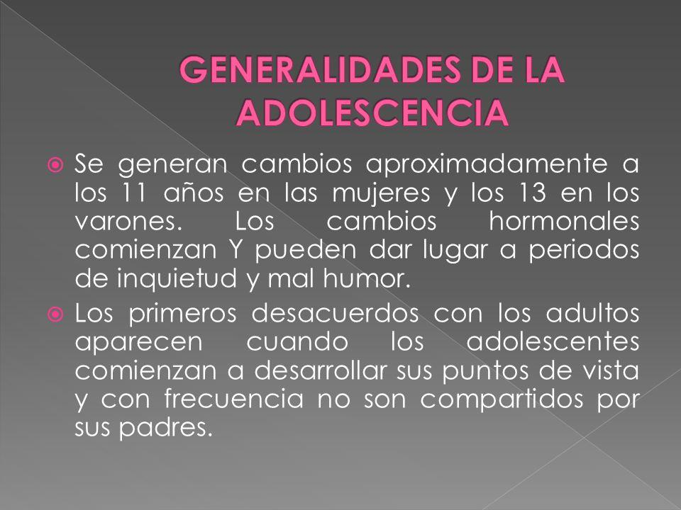 GENERALIDADES DE LA ADOLESCENCIA GENERALIDADES DE LA ADOLESCENCIA