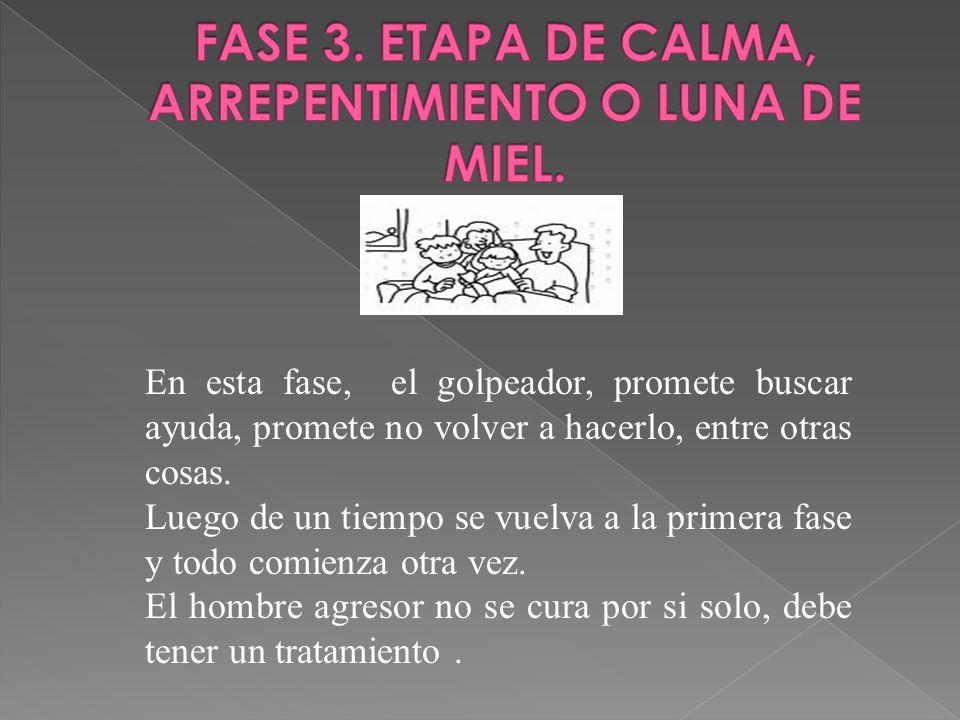 FASE 3. ETAPA DE CALMA, ARREPENTIMIENTO O LUNA DE MIEL.