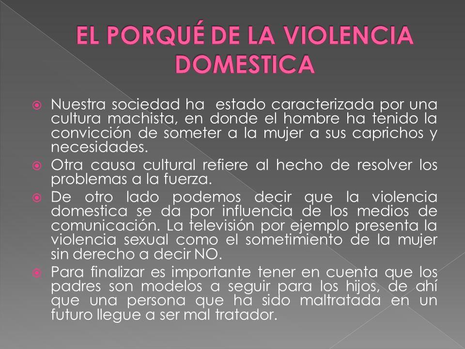 EL PORQUÉ DE LA VIOLENCIA DOMESTICA