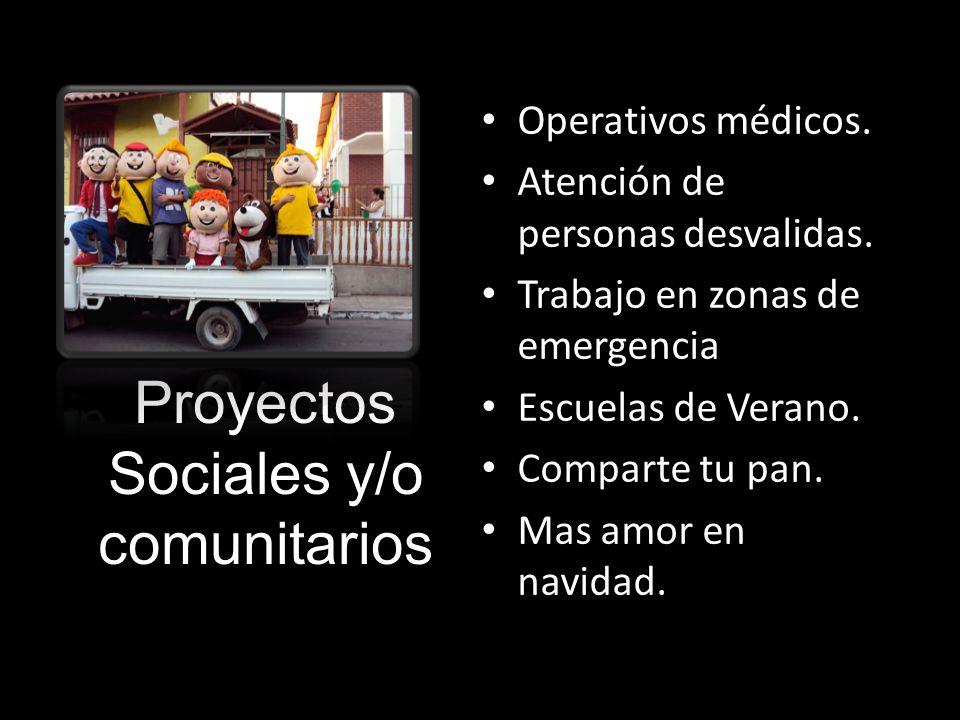Proyectos Sociales y/o comunitarios