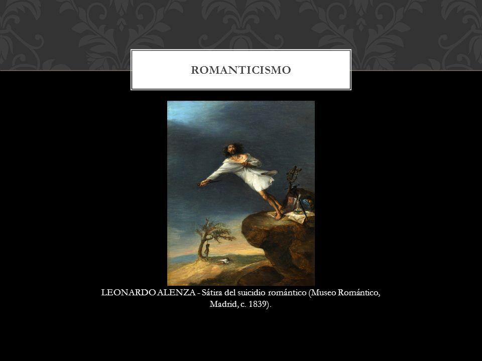 Romanticismo LEONARDO ALENZA - Sátira del suicidio romántico (Museo Romántico, Madrid, c. 1839).