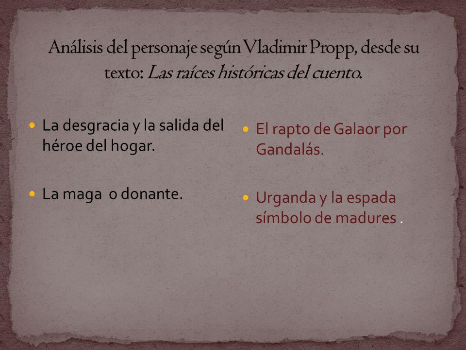 Análisis del personaje según Vladimir Propp, desde su texto: Las raíces históricas del cuento.