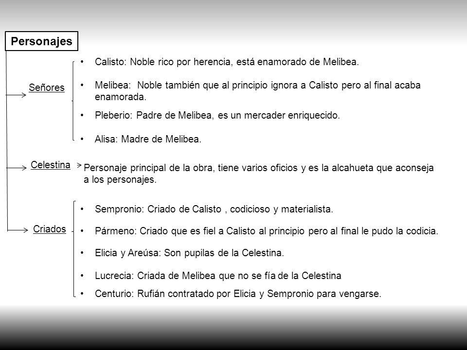 Personajes Calisto: Noble rico por herencia, está enamorado de Melibea. Señores.