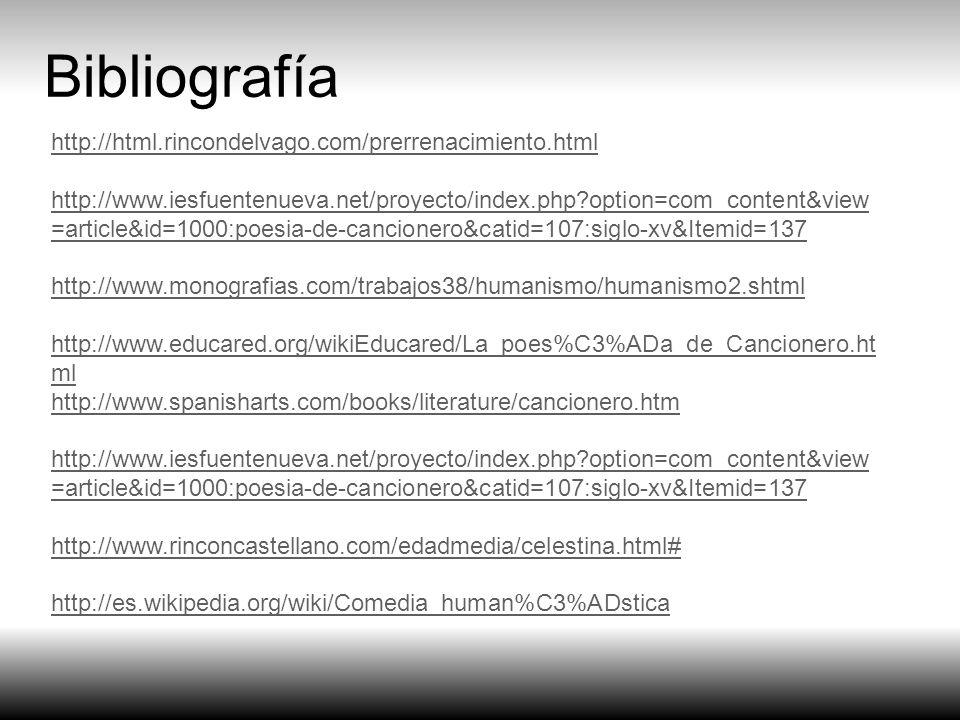 Bibliografía http://html.rincondelvago.com/prerrenacimiento.html