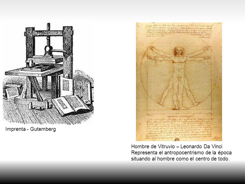 Imprenta - Gutemberg Hombre de Vitruvio – Leonardo Da Vinci. Representa el antropocentrismo de la época.